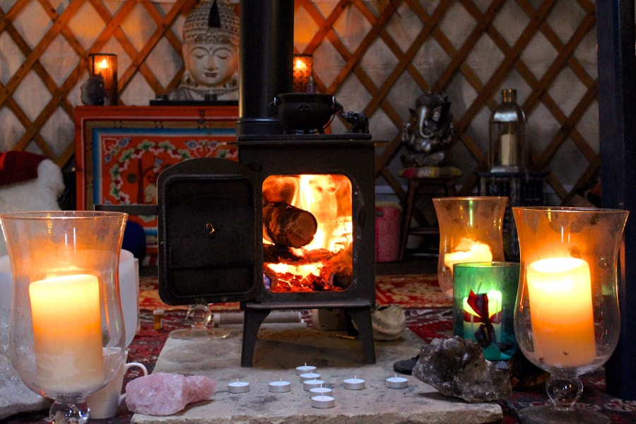 Yurt fire and candles