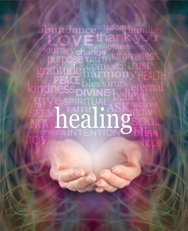 Healing hands image with words of healing, intention, peace, kindness, etc