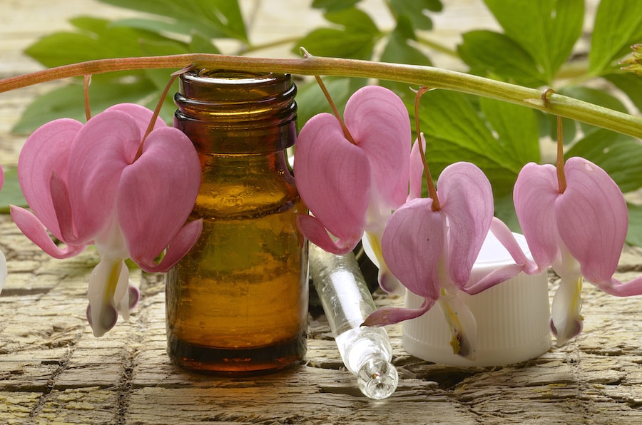 Homepathy bottle and pink orchid